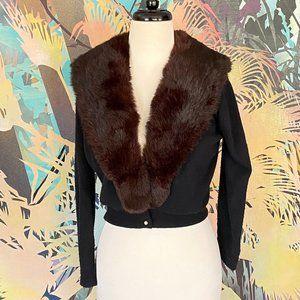 VINTAGE City Fur Co. Fur Collar Cardigan Sweater
